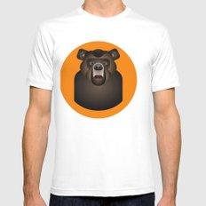 Bear White Mens Fitted Tee SMALL
