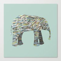 Elephant Paper Collage in Gray, Aqua and Seafoam Canvas Print