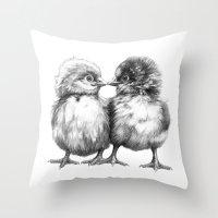 Baby Chicks - Little Kiss G133 Throw Pillow