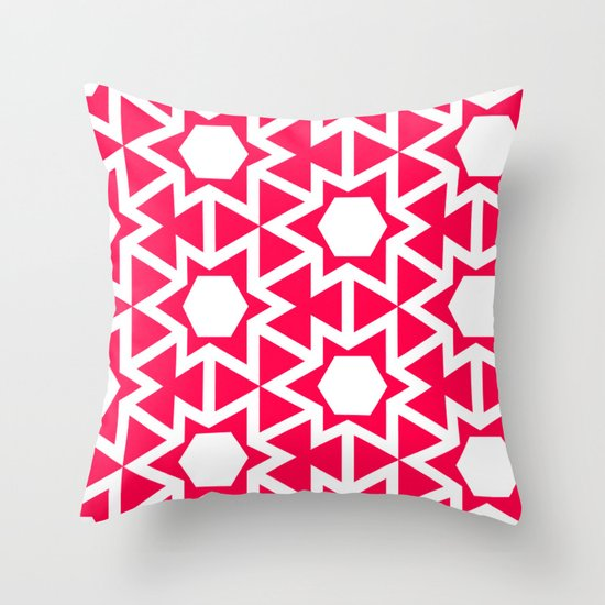 Zoutman Neon Pink Pattern Throw Pillow