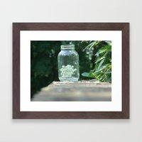Queen Anne's Lace/Jar w/ bokeh Framed Art Print