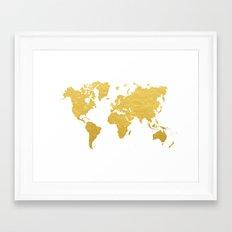 Gold World Map Framed Art Print