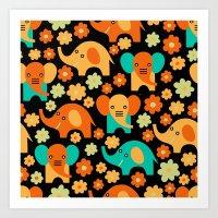 Stylized Elephant Childr… Art Print