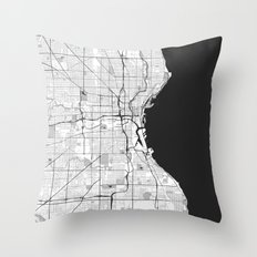 Milwaukee Map Gray Throw Pillow