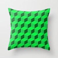 Geometric Series (Green)  Throw Pillow