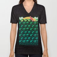 Unisex V-Neck featuring Squid On The Waves by Julia Minamata