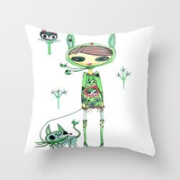 punk gree Throw Pillow