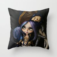 LADY BUCCANEER PIRATE OOAK BLYTHE ART DOLL Throw Pillow