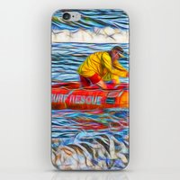 Abstract Surf rescue boat in action iPhone & iPod Skin
