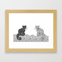 Black Cat White Cat Framed Art Print