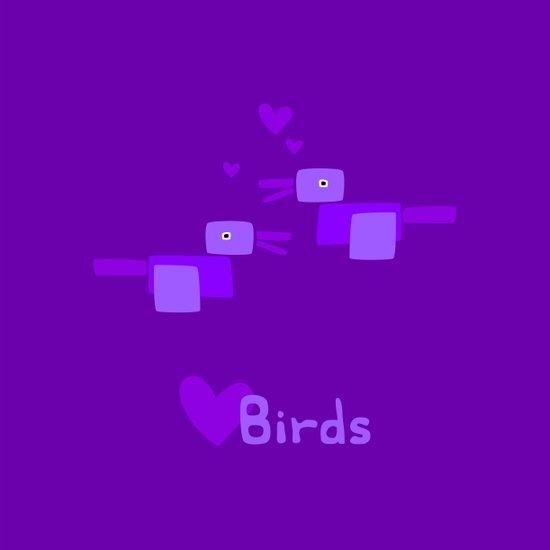 Love Birds-Purple Art Print