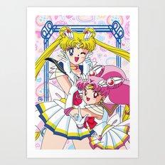Sailor Moon And Chibi Moon Art Print
