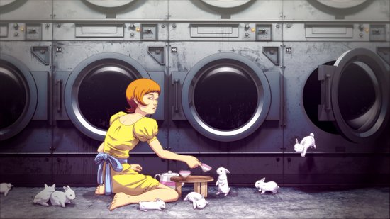 Bunny Laundry Tea Time Art Print