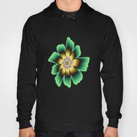 Gold and Green Daisy Flower on Pink Hoody