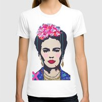 Frida Kahlo By Paola Gon… Womens Fitted Tee White SMALL