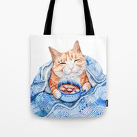 Happy Cat Drinking Hot C… Tote Bag