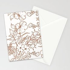 Dotted Floral Scroll Sepia Stationery Cards