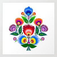 folk flowers ornament  Art Print