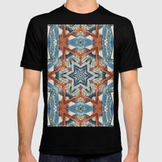 Abstract Geometric Structures Mens Fitted Tee Black SMALL