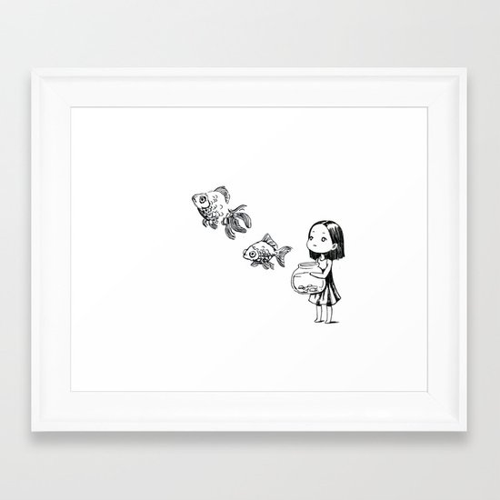 Girl and the Fish Framed Art Print