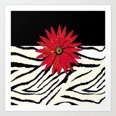Animal Print Zebra Black and White and Red flower Medallion Art Print
