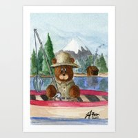 Fisherman Bear Art Print