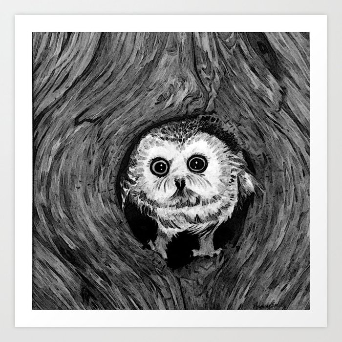 Baby Owl, Black and White Art Print by Nancy Smith | Society6 Baby Owl Black And White