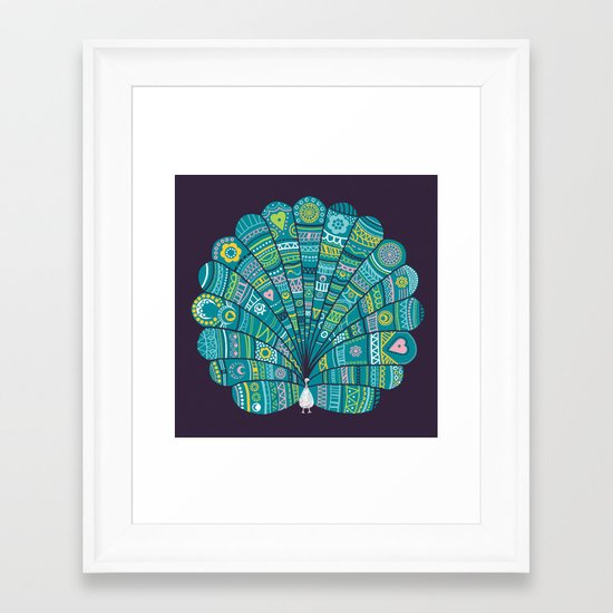 Peacock at noon Framed Art Print