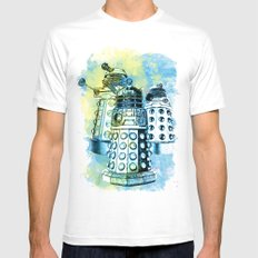 Dalek inspired mixed media watercolor Mens Fitted Tee White SMALL