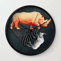 The orange rhinoceros who wanted to become a zebra Wall Clock