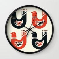Folk Art Birds: Black and Red Wall Clock