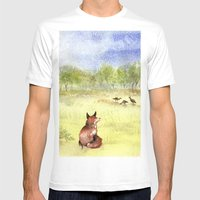 Red Fox Watching Wild Turkeys - Watercolor Mens Fitted Tee White SMALL
