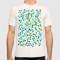 Watercolor Dots_Aqua by Jacqueline and Garima Mens Fitted Tee Natural SMALL