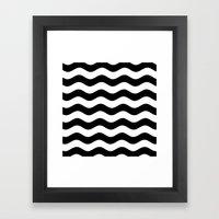 Wavy Stripes (Black/White) Framed Art Print