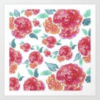Pastel Spring Flowers Wa… Art Print