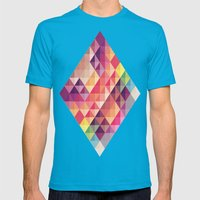 Abstract  Mens Fitted Tee Teal SMALL