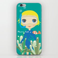 Diver girl iPhone & iPod Skin