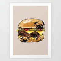 Pugs Burger Art Print