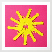 Gun Flower on Pink Art Print