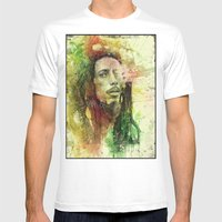 Reggae Rebel (Marley) Mens Fitted Tee White SMALL