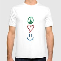 Peace, Love, and Happiness Mens Fitted Tee White SMALL