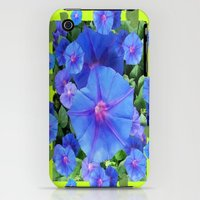 iPhone 3Gs & iPhone 3G Cases featuring Blue-Purple Morning Glories Chartreuse Garden by sharlesart