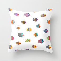 Fish Collection Brightly Colored Throw Pillow