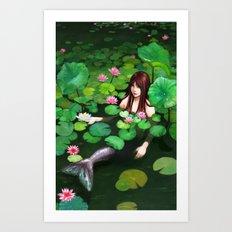 Mermaid Among Lillies Art Print