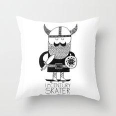 11th Century Skater - White Throw Pillow