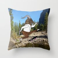 Baphomet's sixth failed attempt over a creek in Yosemite, which resulted in him focusing his board. Throw Pillow