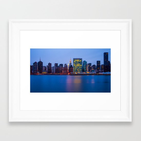 Beginning of the night over Manhattan Framed Art Print