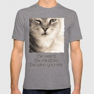 Wise Tabby Cat Mens Fitted Tee Tri-Grey SMALL