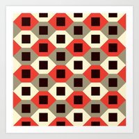 Hexagon pattern (red) Art Print