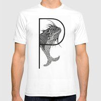 Letter P Mens Fitted Tee White SMALL
